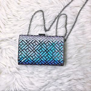 True Decadence Holographic metal cage clutch purse